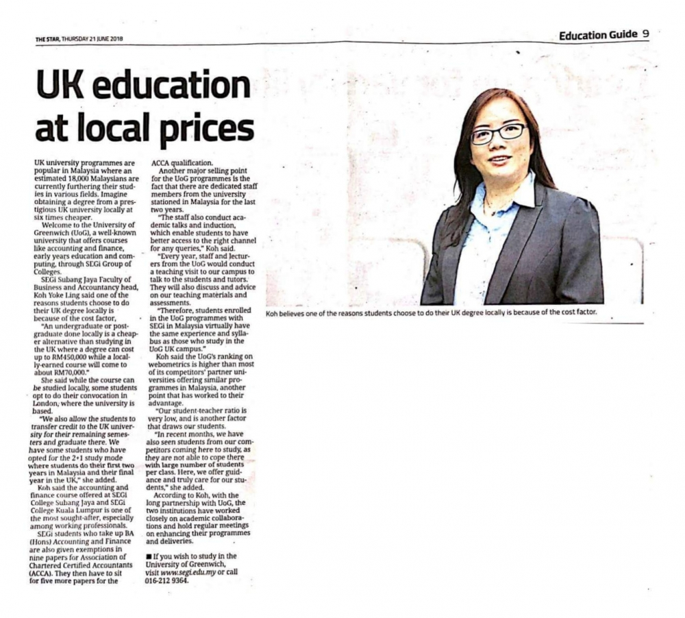 UK education at local prices
