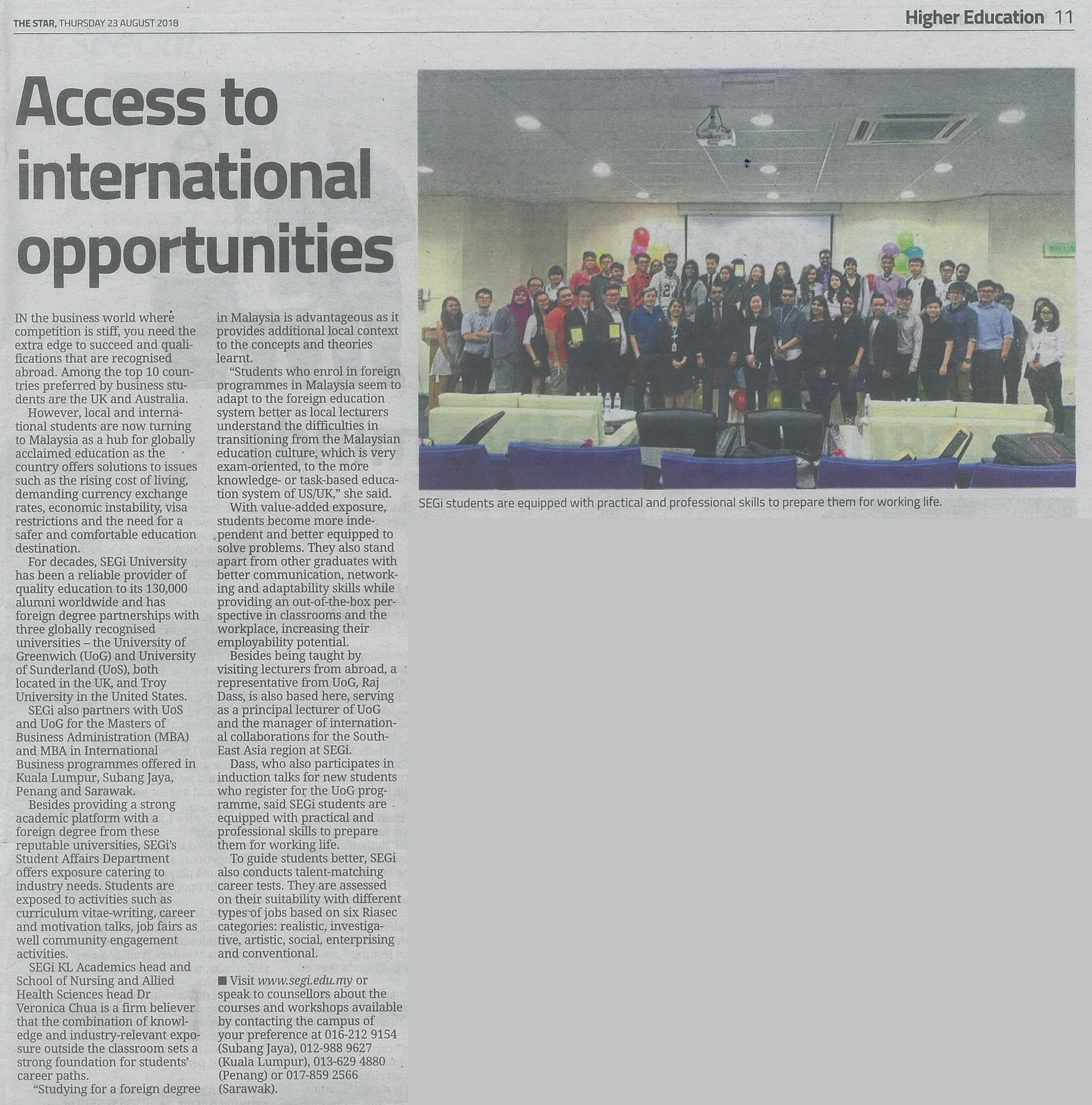 Access to International Opportunities